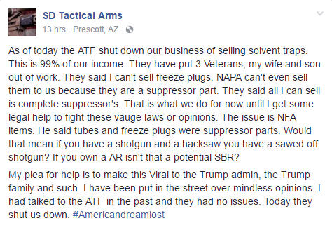 Post from business shut down by ATF